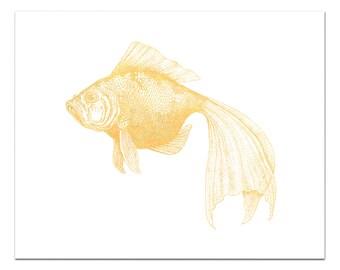Bubbles the Goldfish Print, Gold Foil Goldfish Art, Nautical Decor, Gold Decor, Fish Print, Fish Wall Art, Gold Foil Print, Fish Decor