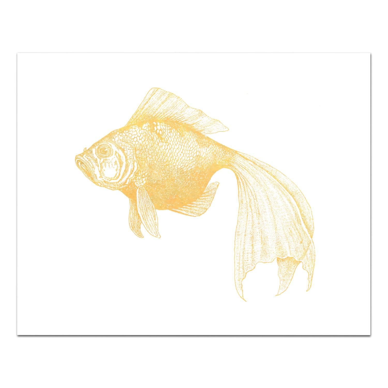 Bubbles the Goldfish Print Gold Foil Goldfish Art Nautical