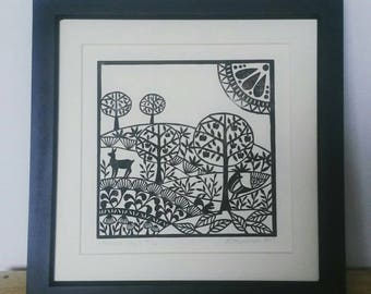 Autumn Days - handprinted Lino Print by Loula Belle at Home