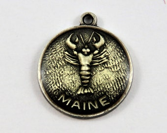 Enameled State of Maine with Lobster in the Center Sterling Silver Charm or Pendant.Please Note: This Charm is Very Small.