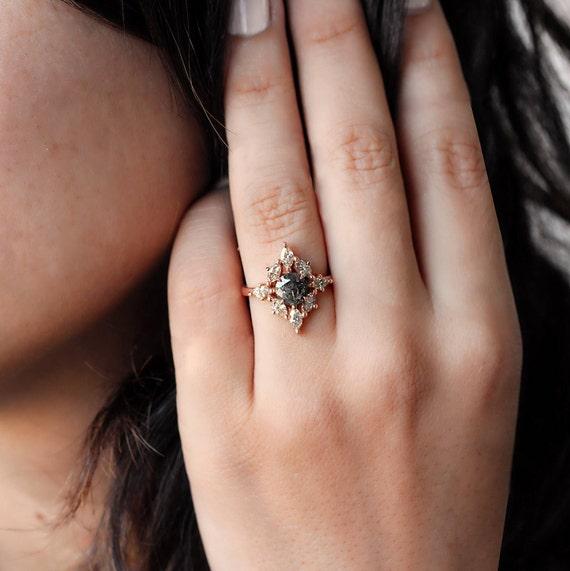 Aerolite Rustic Engagement Rings Salt and pepper diamond