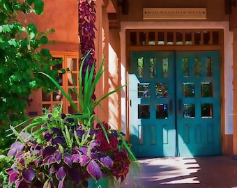 Santa Fe Grace - Southwest Photograph - New Mexico architecture - Home Decor, SW Decor - teal, plum, green, orange