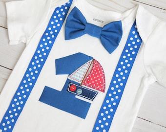 Nautical Birthday Outfit, Sailboat Cake Smash Outfit, Baby Boy First Birthday Outfit
