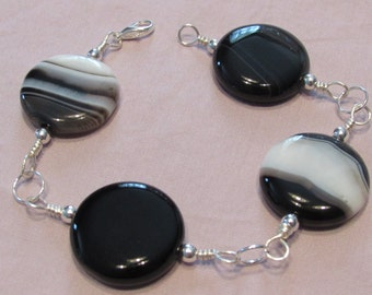 Black and White Agate Wire Wrapped Bracelet/ Handmade/ Handcrafted/ Boho/ Wire Wrapped