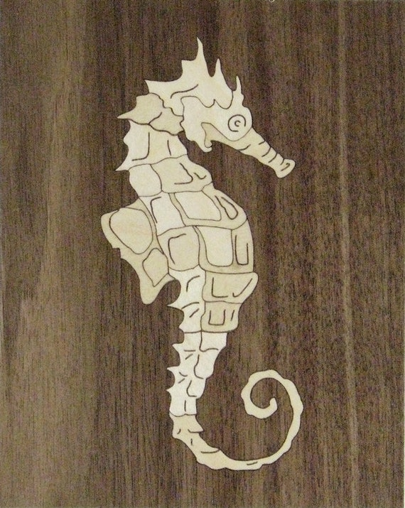 """4""""x 5"""" Marquetry Project Kit - Seahorse"""