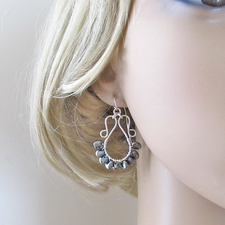 Sterling Silber Draht gewickelt Hämatit Linsen Perlen Ohrringe