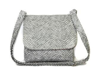 Gray Herringbone Purse, Small Crossbody Bag, Fabric Cross Body Purse, Gray Pocketbook, Cotton Handbag, Adjustable Strap Shoulder Bag