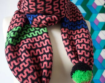 Colourful & patterned knitted 'Wriggle scarf in black, pink, blue, green and yellow lambswool. Pom pom scarf, geometric, handmade, fair isle