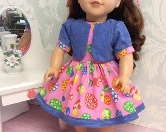 """Easter Dress for 18"""" Doll such as American Girl"""
