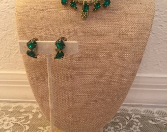 Vintage 1950s Demi Parure Emerald and Lime Green Crystal Rhinestone Choker Necklace and Earring Set