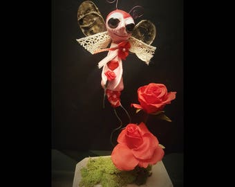 Love bug, Fantasy art doll, Ooak, Clay Valentine doll, collectible doll, Home decor, Valentine's day