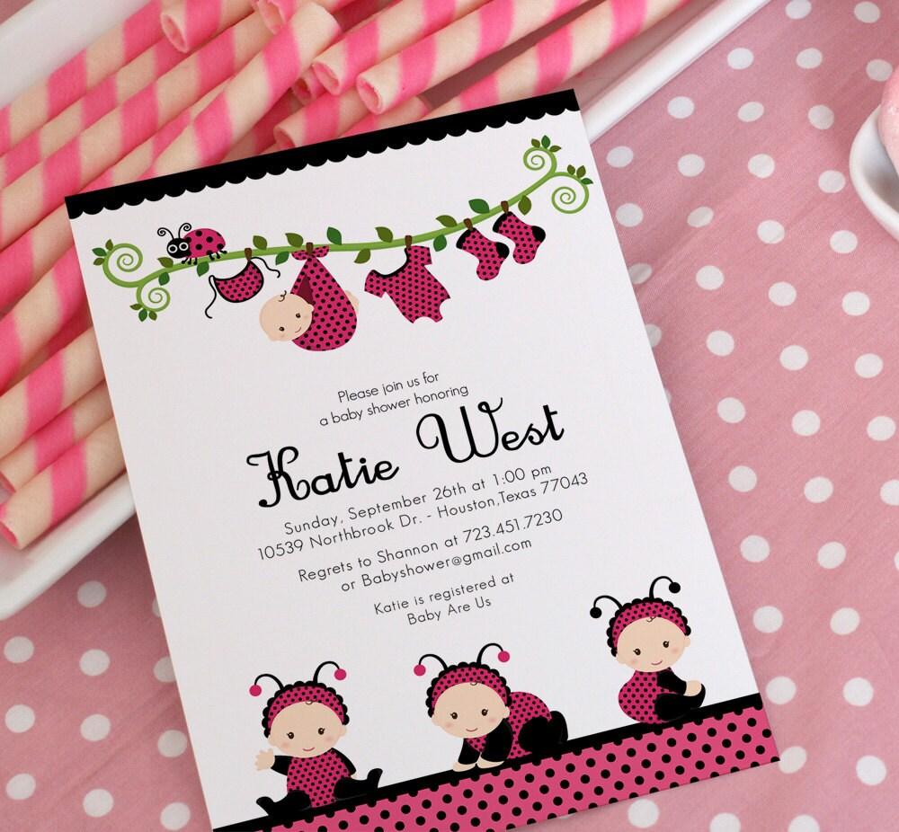 DIY PRINTABLE Invitation Card Pink Lady Bug Baby Shower