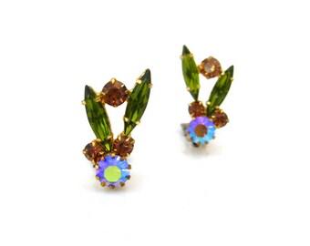 Vintage Olivine Green Topaz Rhinestone Earrings, Aurora Borealis Clip On, 1960s Costume Jewelry