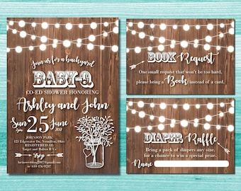 BabyQ Baby Shower Invitations | Baby Q Shower | Baby Q | Rustic Baby Shower  | Couples Baby Shower | Baby BBQ | BabyQ Invitation | Mason Jar