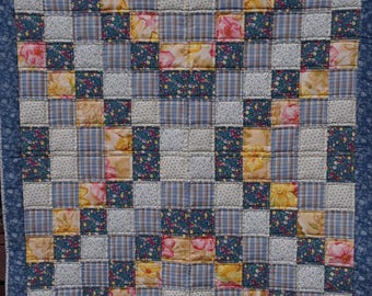 Blue and Yellow 40x46 inch Lap Quilt