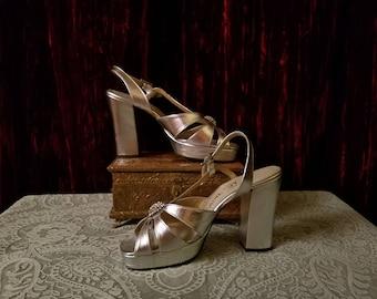 "Vintage 1960's 70's Metallic Silver Platform Sandals 4.25"" Heels, Size 6"