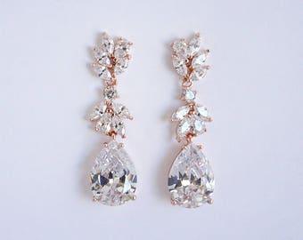 Mila - Bridal Earrings, Wedding Earrings, Teardrop Earrings, Crystal Drop Earrings, CZ Chandelier Earrings, Rose Gold Wedding Earrings