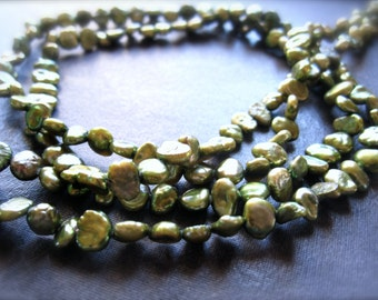 8 inches of organic Olive Green freshwater pearls - 5mm X 5mm