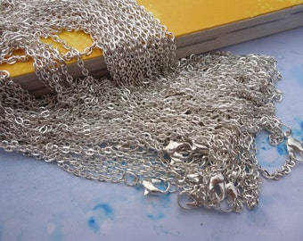 10pcs 2.0mm 24 inch silver plated  chain necklace  with lobster clasp