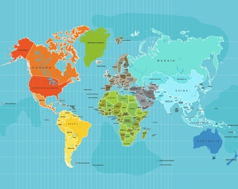 World Map Poster, Country Names, 16X20 Other sizes, Travel Artwork, Travel gift, Farewell