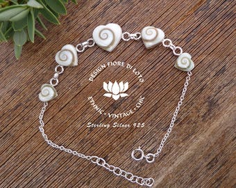 Heart Bracelet Sterling Silver Shiva Eye Shell Heart lovers Heart jewelry Gift for girlfriend Romantic jewelry Adjustable heart bracelet
