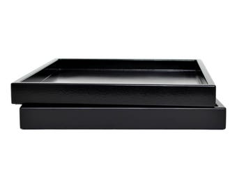 Decorative Tray for Coffee Table, Lacquer Wood Serving Tray, Coffee Table Tray, Ottoman Tray Black, Catchall