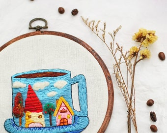 A Cup Of Scenery Embroidery Hoop Art