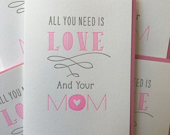 Mother's Day card. Mothers Day Gift Card For Mom. Letterpress card for Mom. Mom Mother's Day card. DeLuce Design
