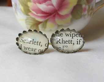 Gone With The Wind Earrings - For Women Ear Studs Scarlett O'Hara Rhett Butler Gift - Bookworm Reader Romance