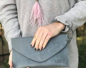 Gray Alem Leather Clutch, Handmade in Africa, Ethiopia Carry 117, Fairtrade, Women Empowerment, Leather Wristlet