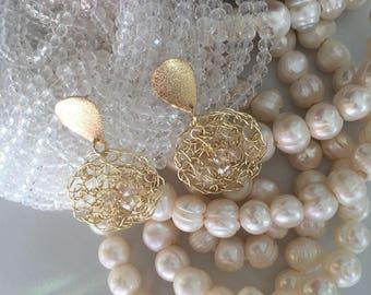 Wire crochet earrings. Gold Plated Crochet Earrings. Round Wire Mesh Earrings. Mesh Dangle Earrings.