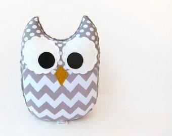 Gray Chevron Owl Plush Baby Toy Mini Pillow Softie Ready to Ship
