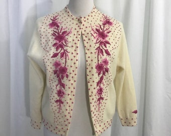 Vintage 1950s Wool Cream Pink Cardigan Sweater S
