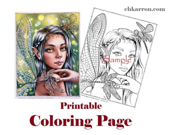 Coloring Page - Dragonfly Fairy illustration Instant Download Printable File