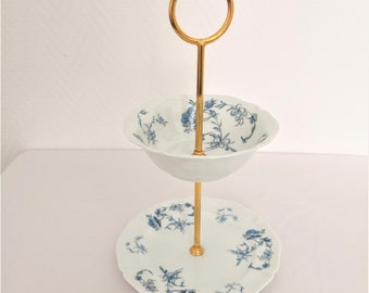 limoges french vintage cake stand white and blue manufacture royale