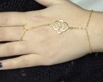 Gold Slave Bracelet, Danty Slave Bracelet-Chain Ring