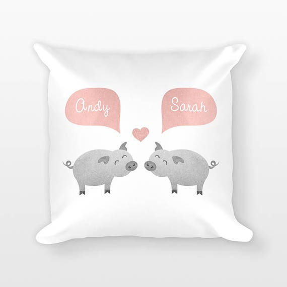 PIG Pillow, Animal Couple Pillow, Personalized Pillow, Couples Gift for Couple, Love Pillow, Custom Throw Pillow, Decorative Pillow for Bed