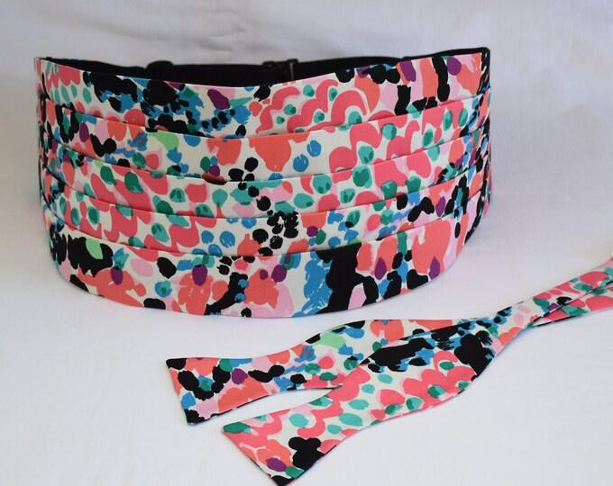 Cummerbund & Bow Tie set, coral, black, pink multi Sweet Nothings Lilly print, wedding formal wear, tux accessory, custom cummerbund, prom