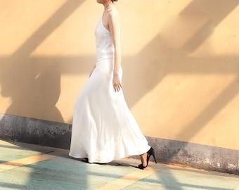 38MM White 100% Silk Dress   ALASHANGHAI