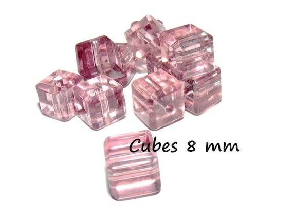 Pearl Bohemian crystal [Amethyst] 4 x 8 mm CUBE shape