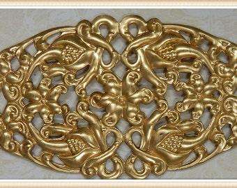 brass raw brass filigree vintage embellishment ornate ornament 1 piece E2937