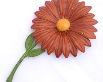 Large Flower Enamel Vintage Brooch, Mid-century Enamel Orange Daisy Pin, VERY BIG Vintage Daisy BROOCH Gerber Daisy Brooch Huge Brooch Pin