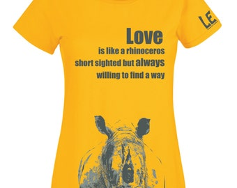 Love quote tshirt, Love is inspirational text t shirt. Yellow rhinoceros rhino art tees. Women funny tee. Gift for wife, girlfriend, fiance