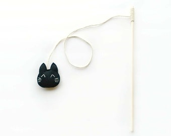 Black Cat Teaser Toy, Cat Toy Teaser Wand, Cat Toy Wand, Black Cat Toy, Cat Teaser, Organic Catnip Cat Toys, Cat Wand Toy, Black Cat