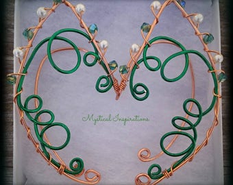 Elf Ears Fairy Ears Ear Cuffs Green and Copper Unique Loop Design