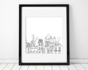 Paris Rooftops Illustration Ink Print, french art, Wall art, Bedroom decor, Girl bedroom