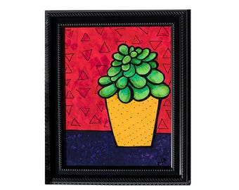 Jade Plant Painting - Succulent Art - Succulent Lover Gift - Still LIfe Painting by Claudine Intner - Framed Painting