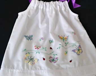 3T White with embroidered butterflies Summer Dress