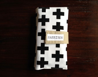 Diaper Clutch, Nappy Wallet, Black and White Swiss Cross, Scandinavian Style, Personalized, Monogram, Baby Shower Gift, Custom Baby Gift
