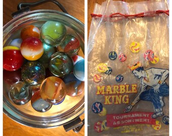Vintage Marble Collection - Glass Marble and Vintage Marble BAG - Vintage Game - Vintage Toy